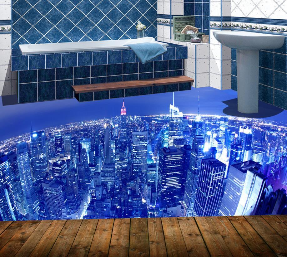 Decorative Home 3d Floor City Lights Wallpaper Custom 3d Floor Tiles For Kitchen Waterproof Self