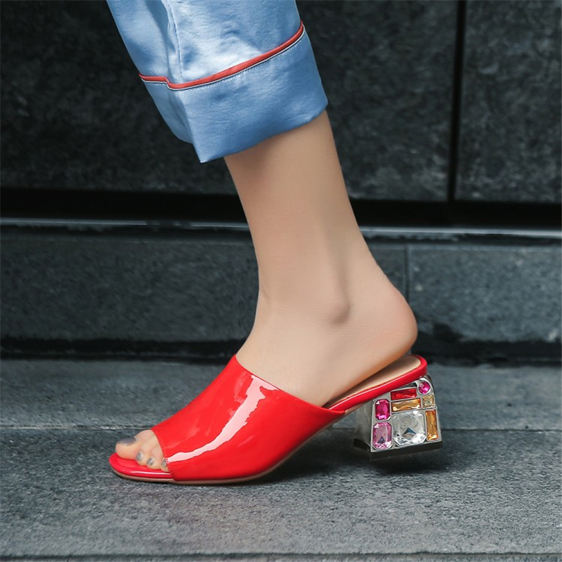MSSTOR Peep Toe Women Slippers Summer Plus Size Red Fashion Crystal Sexy Elegant Women Luxury Shoes Square Heel Shoes Woman 2019