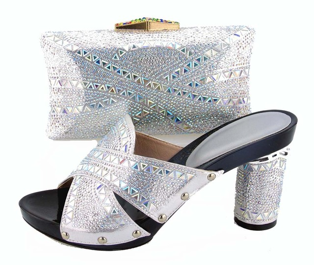 BCSB0039 free shipping concise silver women slippers shoes high heel 4  inches matching cluthces bags with many stones 8b8e7db4673e