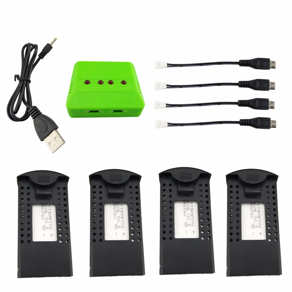 все цены на 4PCS 3.7V 900mah lithium battery with 4-in-1 charger for SG700 DM107S S169 folding quadcopter spare parts онлайн