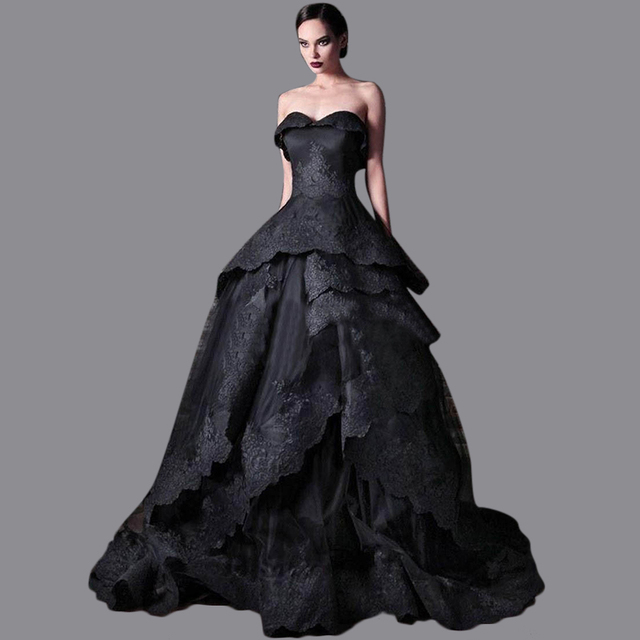 7c075c2afc US $189.0 |Ball Gown Bridal Dresses Puffy Sweetheart Wedding Gown Sweep  Train Black Wedding Dresses With Appliqued Free Shipping EN376-in Wedding  ...