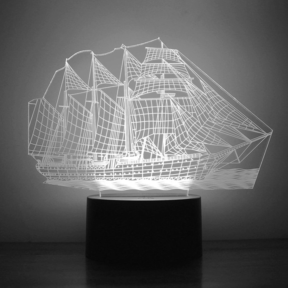 Unique 3D Small Night Light Sailing Ship Pattern 7 Color Bedroom Decorate Coloful LED Night Light Lamp for Children Gift