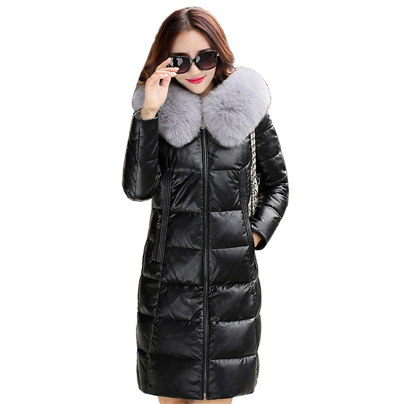New Winter Women   Leather   Jackets Fox fur collar Soft Pu   Leather   White duck down Coats long Design Slim Cute Faux   Leather   Outwear