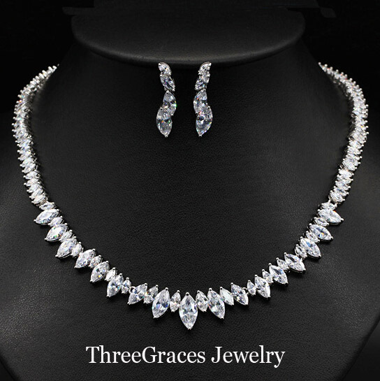 ThreeGraces Thiết Kế Cổ Điển Hình Dạng Hình Bầu Dục Cubic Zirconia Pha Lê Bridesmaid Necklace Earrings Jewelry Sets Đối Với Wedding Party JS137