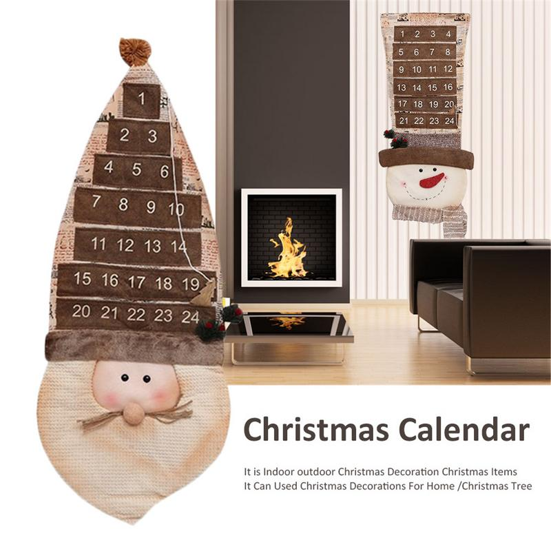 90cm Christmas Calendar Christmas Decorations For Home Santa Claus Snowman Countdown Calendar New Year Christmas Gift cartoon christmas santa claus printed home decor pillow case