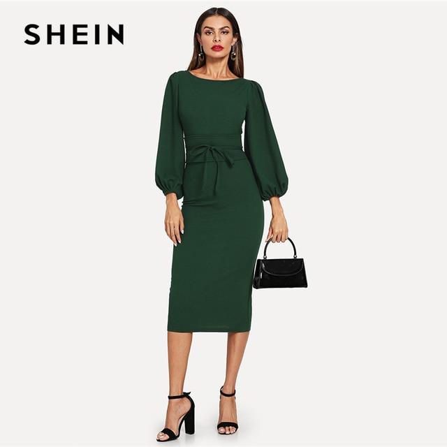 a70bd59661 SHEIN Green Tie Waist Lantern Sleeve Dress Elegant Party Boat Neck Pencil Dresses  Women Zipper Knot