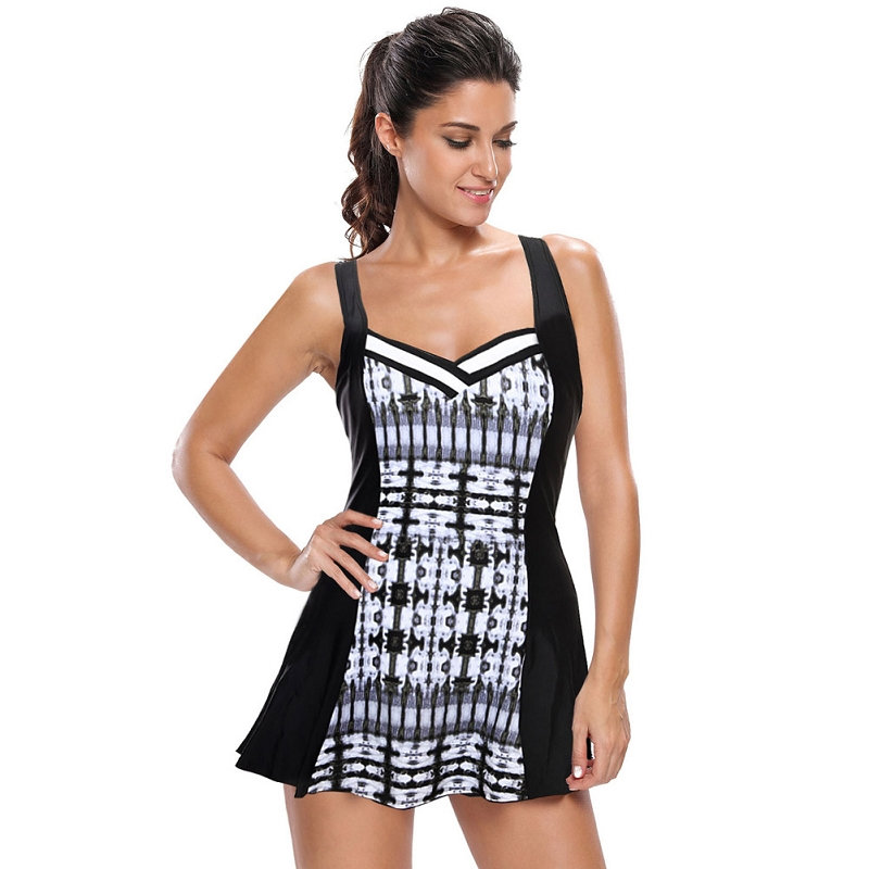 Summer Beach Skirt style Swimwear Push Up 2017 bikini black and White Print Beachwear Swimwear Women Swimwear One Piece Swimsuit купить бластер для паутины человека паука