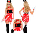 Cute Mickey Clothes Sets Halloween Miss Minnie Fancy Adult Sexy Red Dress Love Live Cosplay Party Role Dot Printed Clothes Hot