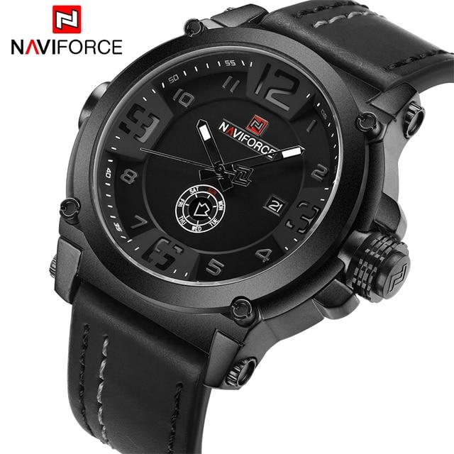 NAVIFORCE 9099 Mens Watches Top Brand Luxury Sport Quartz-Watch Leather  Strap Clock Men Waterproof