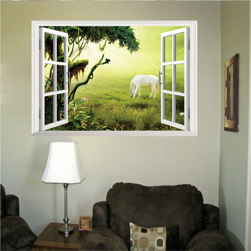 3d fake prairie white scenery horse window wall stickers for 3d washable wallpaper