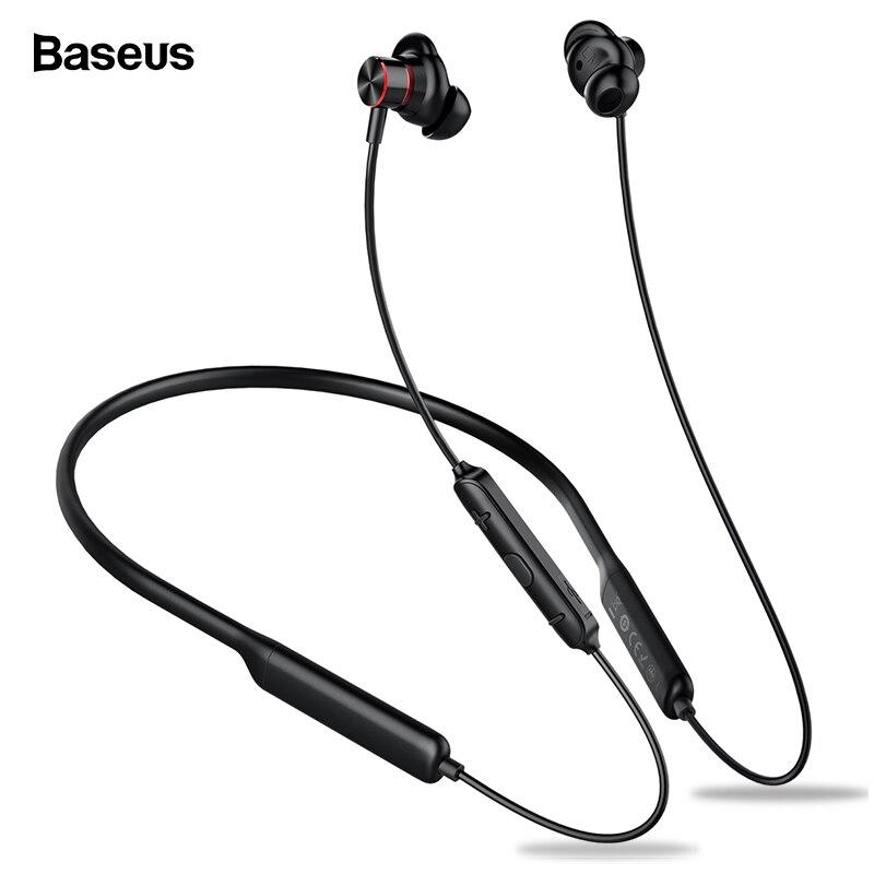 Baseus S12 Neckband fone de Ouvido Bluetooth Fone De Ouvido Para O Telefone Bluetooth 5.0 Sem Fio Fones De Ouvido fone de Ouvido Baixo Com Microfone fone de ouvido