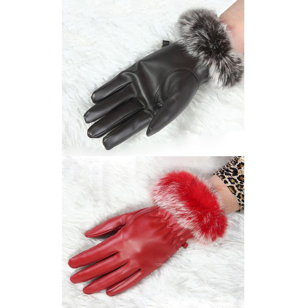 Womens leather gloves purple - Tfgs Newly Design Women Purple Red Coffee Leather Gloves Autumn Winter Warm Rabbit Fur