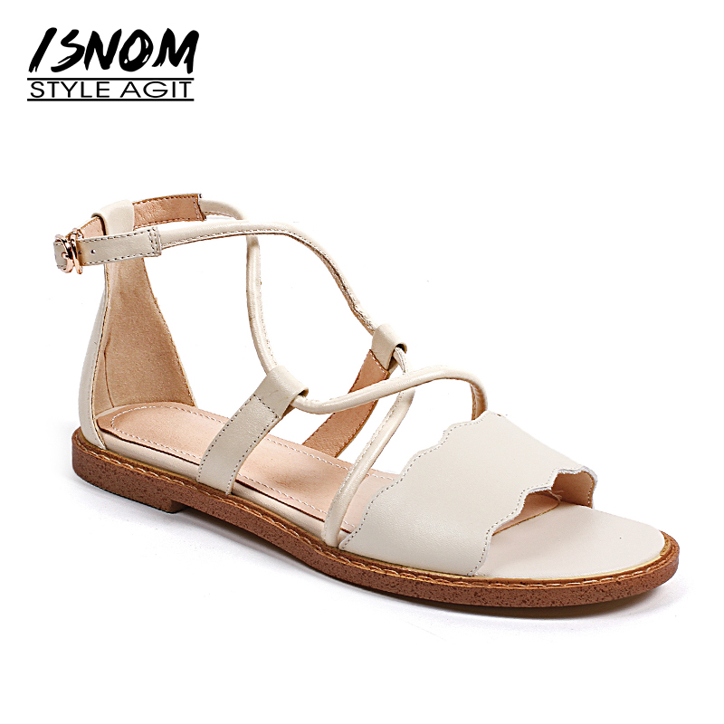 ISNOM Genuine Leather Sandals Women 2018 New Fashion Summer Casual Female Shoes Buckle Cross Strap Open Toe Flat Sole Footwear summer shoes woman genuine leather soft outsole open toe sandals casual flat women shoes 2018 new fashion women sandals