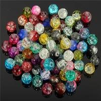 HOT 100Pcs/Set DIY Decoration Crystal 8mm Crack Multi-Colorful Glass Beads 91OM