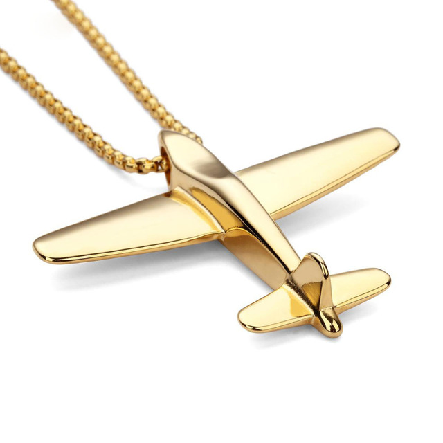 Fashion men stainless steel aircraft pendants chains personality fashion men stainless steel aircraft pendants chains personality hiphop airplane necklaces jewelry gifts wholesale mozeypictures Gallery