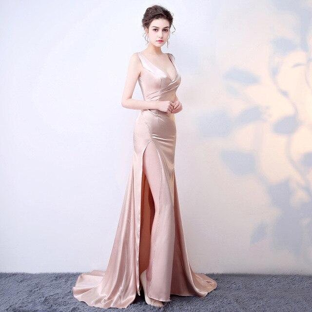 Custom Plus Size 2017 Sexy Jurk Satijn Jurken Roze Vintage Kostuums ...
