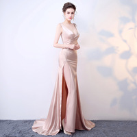 Custom Plus Size 2017 Sexy Dress Satin Dresses Pink Vintage Costumes Women Cosplay Evening Party Mermaid Club Long Ladies Dress