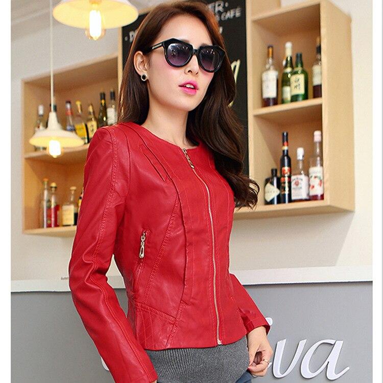 Новая мода осень зима Брендовая женская мотоциклетная кожаная куртка Pu с круглым вырезом кожаное пальто Casaco Feminino красный, хаки A0304 - Цвет: red