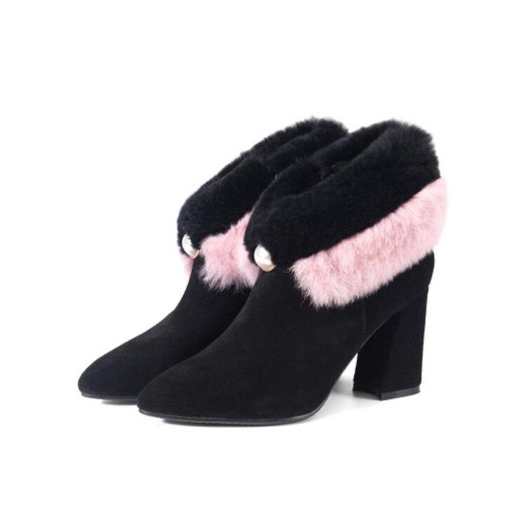 Suede Botas Corta Caliente As Conejo 2019 Black Nieve Invierno color Mujeres  Mljuese Tobillo De Pelo Vaca ... 6d6c1b13dd5b