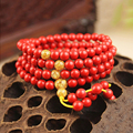 Ethnic Red Charm Bracelets Unisex Natural Cinnabar Prayer Beads Bracelet Rosary Multi-layer Woman Lucky Bangle Amulet Jewelry