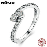 WOSTU 100 Real 925 Sterling Silver Forever Hearts Ring For Women With Clear CZ Fine S925