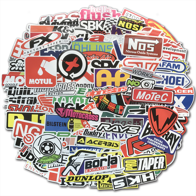 100 PCS Racing Car Stickers Graffiti JDM Car Modification Waterproof Sticker for Motorcycle Bicycle Helmet Motor Suitcase Laptop
