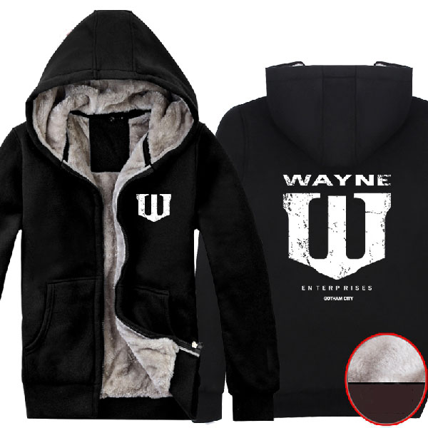 Batman Bruce Wayne Superhero Wayne Enterprises Logo Super Warm Fleece Cotton Winter font b Hoodies b