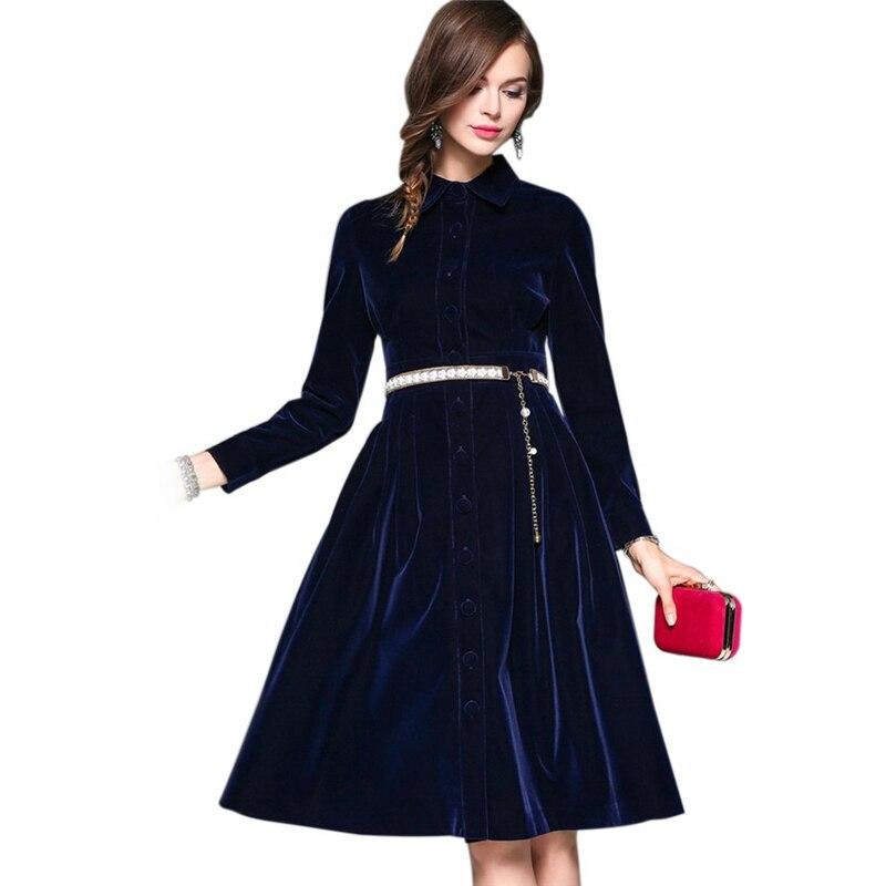 Nouveau Robe Mujeres Style Longue À Col Minceur Solide Bureau Élégant Velours Manches Longues Dames Jupe 1 Mode Revers Ol Couleur 6dxTqUPw6
