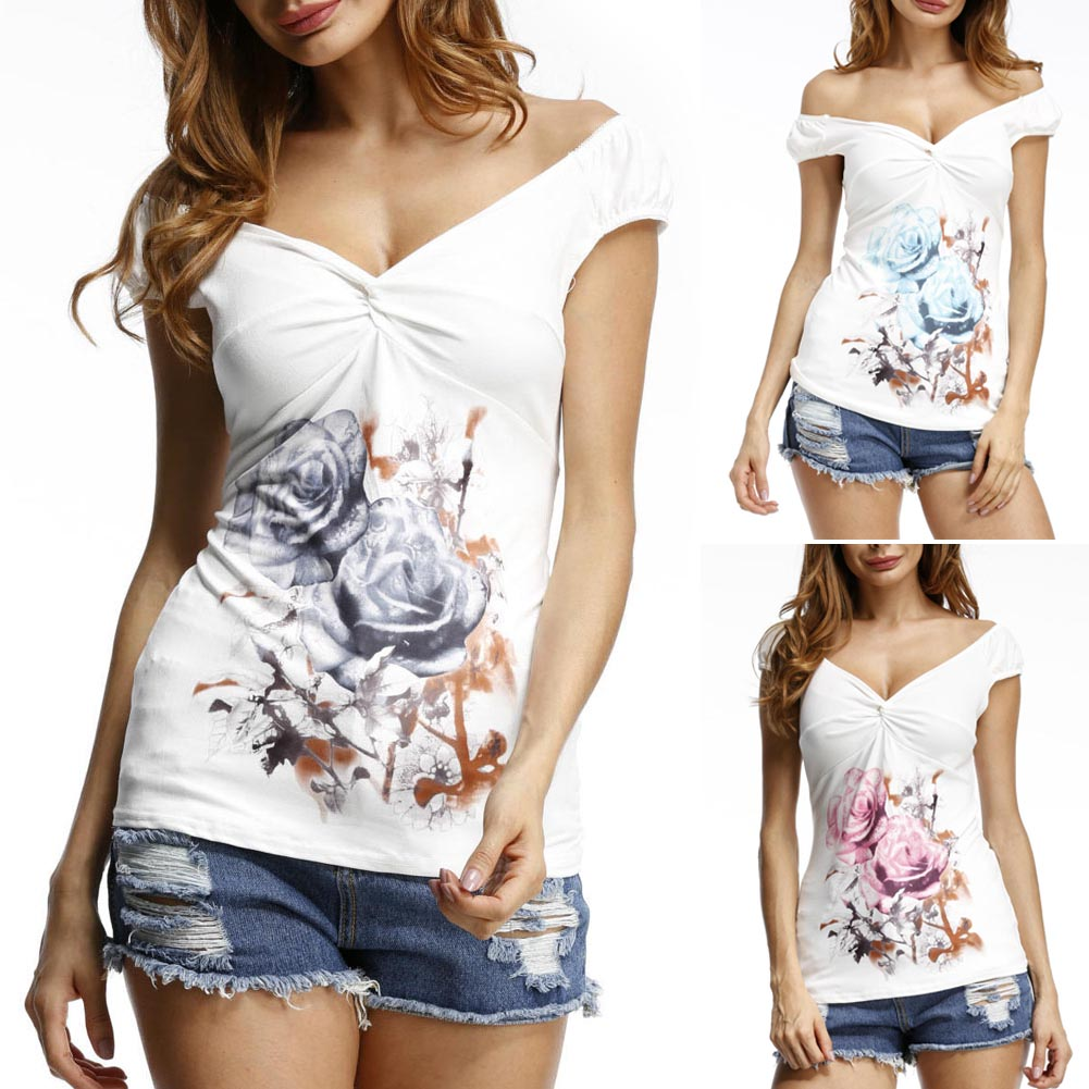Summer Women T Shirt Sleeveless Vest Floral Printing Cross Pleated Ladies Casual Tee Tops H9
