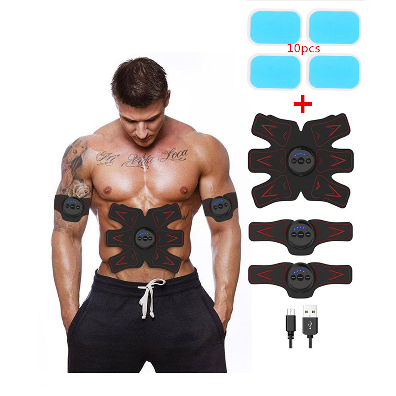 Rechargable Abdominal Muscle Toner Toning Belt Abdominal /Arm/Leg Muscle Fitness Trainer Gear+10pcs Replecament Gel Sticker