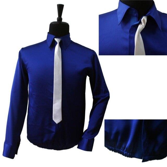 Retro MJ Michael Jackson Smooth Criminal Bule Brillo Camisa y Corbata Hilo Encolado Rendimiento de Halloween Muestran Ropa de Ningún Botón