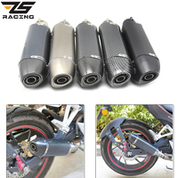 ZS Racing 370mm Silencer Motorcycle 51 mm Exhaust Muffler Pipe Stainless Steel Tail Escape Removable DB Killer Dirt Bike ATV