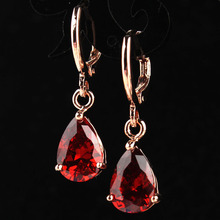 New Fashion Women/Girl's  Rose Gold-color Red Garnet CZ Stone Pierced Dangle Drop Earrings Wedding Jewelry Gift Free shipping