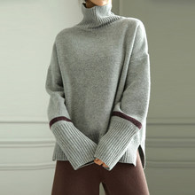 Autumn and winter high collar cashmere sweater female sets of short short thick sweater loose lazy wind wool sweater(China)