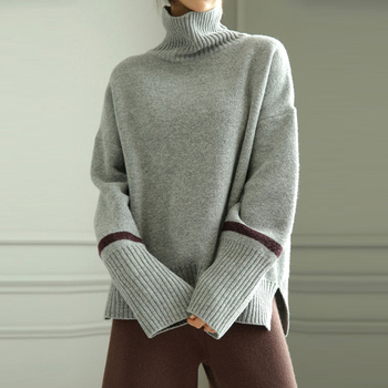 Autumn and winter high collar cashmere sweater female sets of short thick loose lazy wind wool