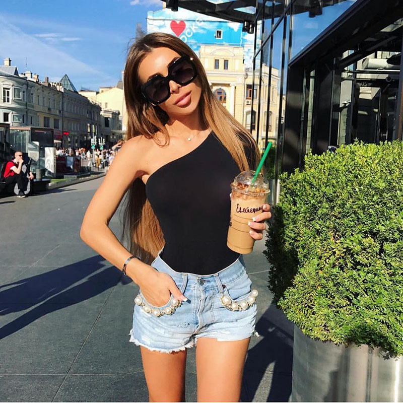 Sexy Women Slim One Shoulder Long Sleeve Bodycon Bodysuit Short Romper Leotard Tops