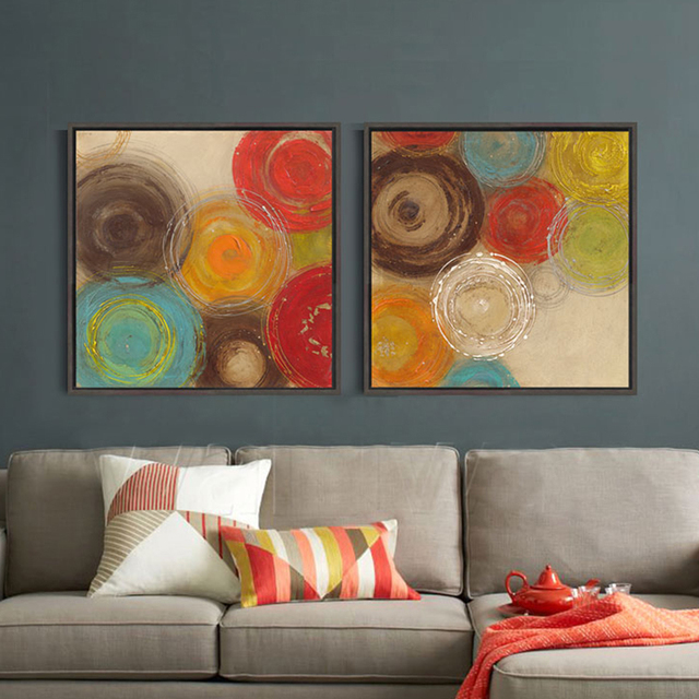 Modern Abstract Painting Colored Circles Decorative Artist Canvas Wall Art Home Poster Picture Print Living Room