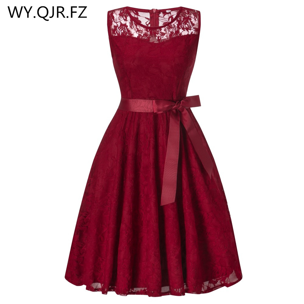 OML503#round Collar Sleeveless Burgundy Bow Bridesmaid Dresses Wedding Party Dress 2019 Prom Gown Women's Fashion Wholesale