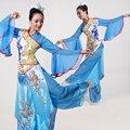 2016 Trajes de Dança Chinesa Dança Folclórica Clássica Lantejoulas Roupas Desempenho Poética Quadrado Fã Yangko Trajes Dinastia Hanfu