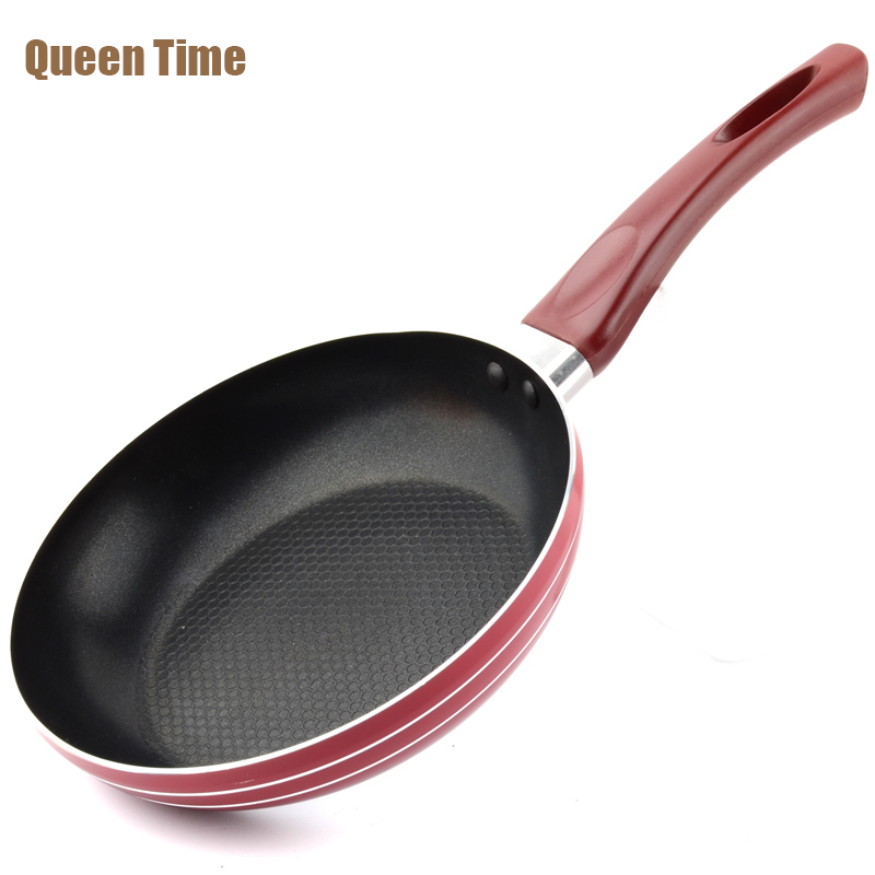 QueenTime 8 Aluminum Non-Stick Frying Pan Round Grill Pans With Handle For Frying Meat Steak Use For Gas And Induction Cooker