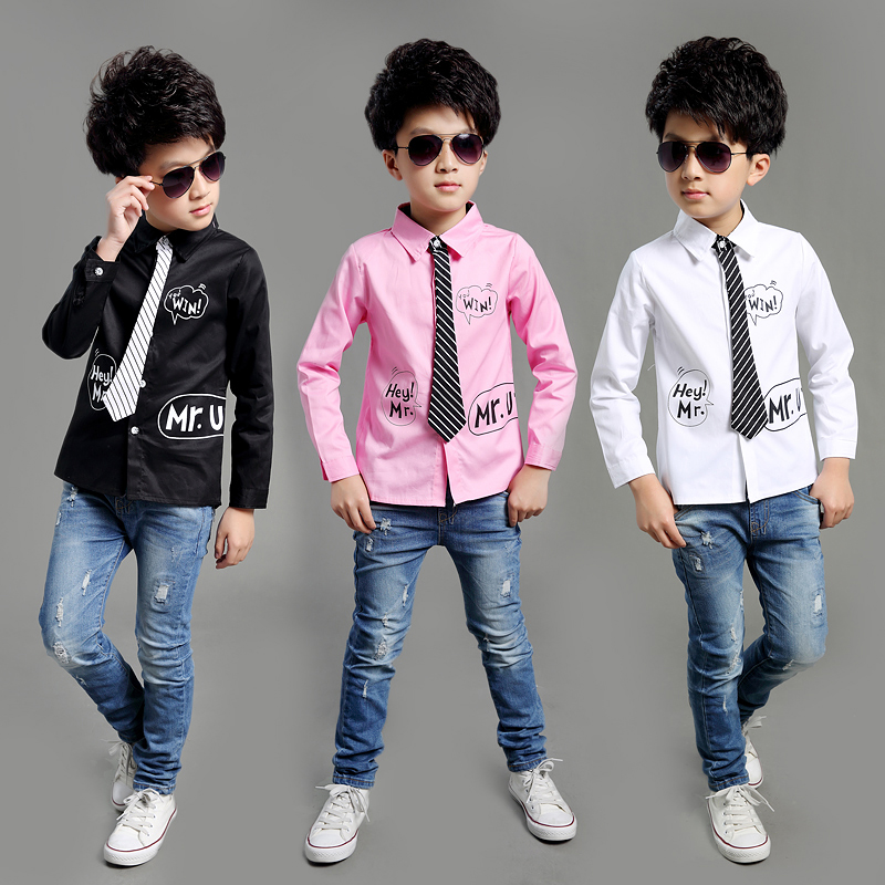 2016 New Spring Autumn Long Sleeve Boys Blouses Breathable 100% Cotton Kids Children Shirts Kids Shirts Boys Shirts