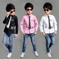 2016 Nova Primavera Outono Meninos de Manga Longa Blusas Respirável 100% Algodão Crianças Camisas Crianças Camisas Meninos Camisas