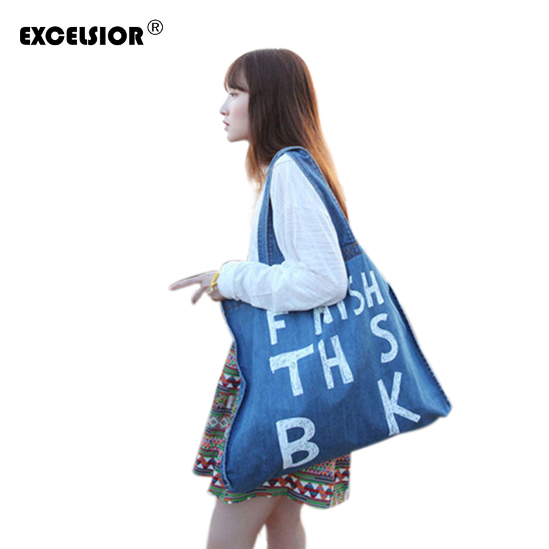 EXCELSIOR Summer Women Denim Shopping Bag Female Big Single Shoulder Jeans Beach Handbags Ladies Casual Tote Sac A Main Bolsas 2016 rainbow stripes tote bag stylish hollow out beach bag ladies shoulder handbag summer shopping bag for women big m47