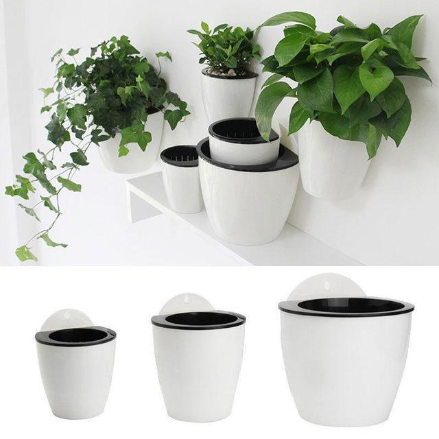 office flower pots. Self-Watering Flower Pot Wall Hanging Planter Plastic Nursery Pots Home Office Garden Balcony Decoration P