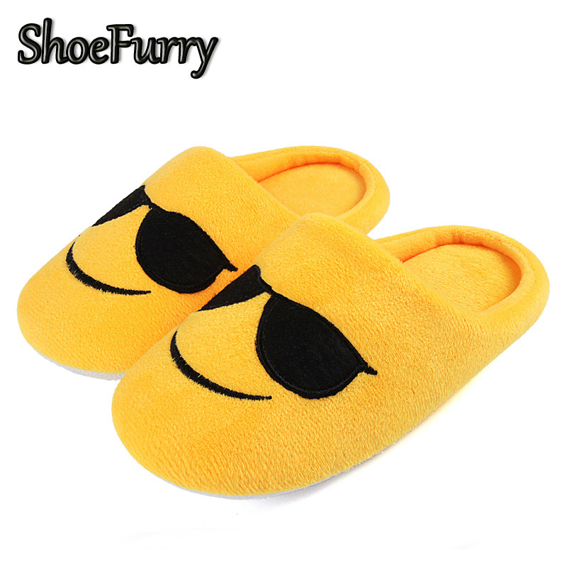 ShoeFurry Winter Cotton Shoes Kids Home Slippers Cute Cartoon Emoji Slippers Baby Indoor Shoes Soft Plush Warm Children Slippers