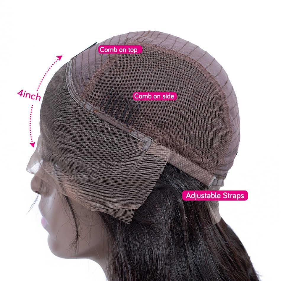 Dantel ön İnsan saç peruk düz ön koparıp Hairline bebek saç 8-26 inç 13x4 150% malezya remy İnsan saç dantel ön peruk