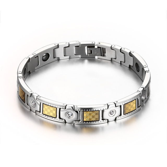 2016 new fashion personality male jewelry inlaid with magnetic stones Titanium Steel Bracelet Men's Health