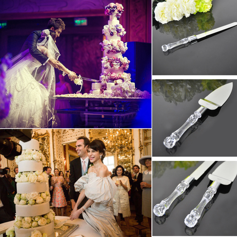 Free Shipping Stainless Steel Wedding Party Cake Knife Server Set Acrylic Faux Crystal Handle-L2