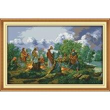 يسوع وتلاميذه الصينية عبر عدة خياطة القطن البيئي واضح مختومة المطبوعة 11CT لتقوم بها بنفسك الزفاف الديكور للمنزل