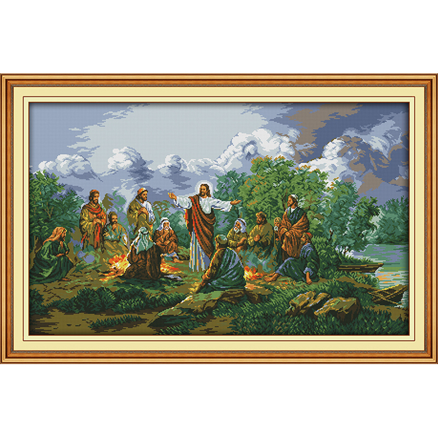 ישו ותלמידיו הסיני צלב סטיץ ערכות כותנה אקולוגית ברור חותמת מודפסת 11CT DIY חתונת קישוט לבית